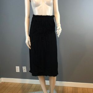 NWT Helmut Lang Nubby Viscose Ruched Black Skirt